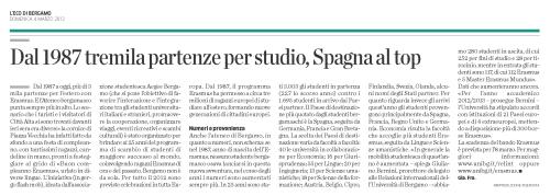 L'Eco Di Bergamo - Progetto Erasmus