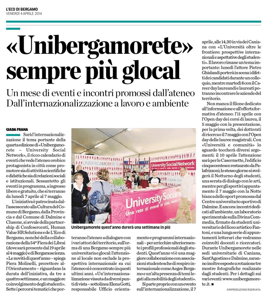 2014-04-04 - L'Eco di Bergamo - Unibergamorete 2014