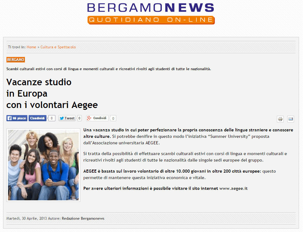 2014-04-30 - Bergamonews - Summer University 2014