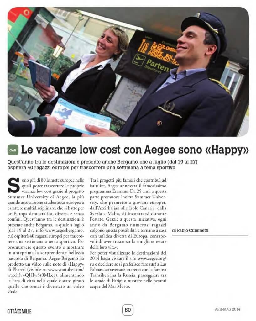 Summer University 2014 & Happy Bergamo - Città dei Mille di Aprile-Maggio 2014