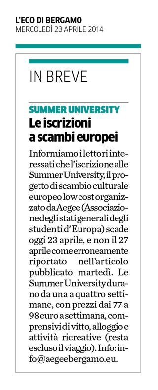 2014-04-23 - L'Eco di Bergamo - AEGEE Summer University 2014