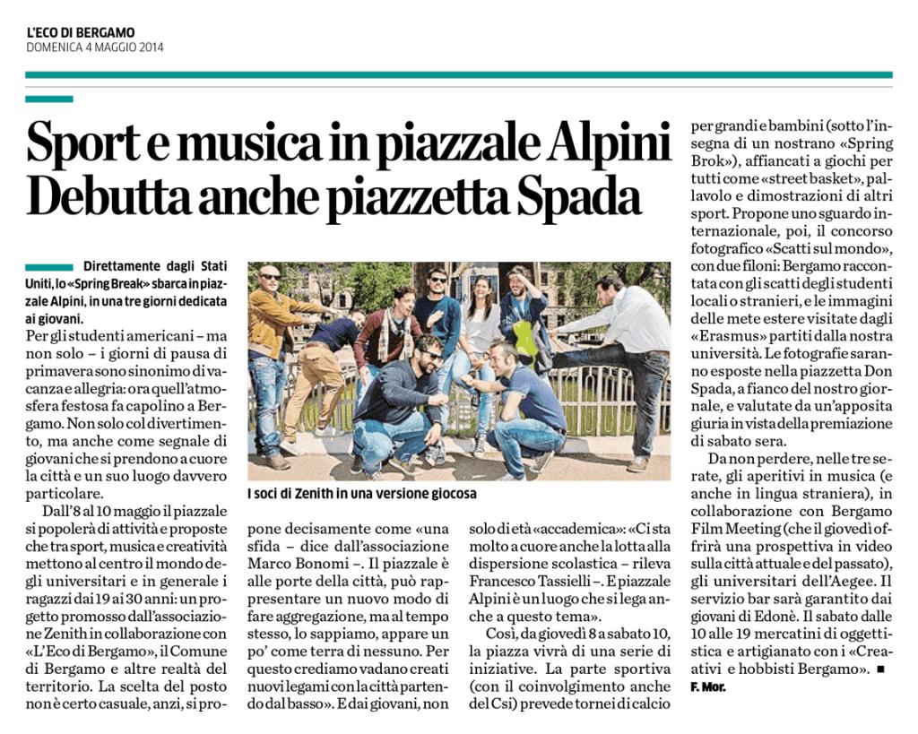2014-05-04 - L'Eco di Bergamo - Sport e Musica in Piazzale Alpini
