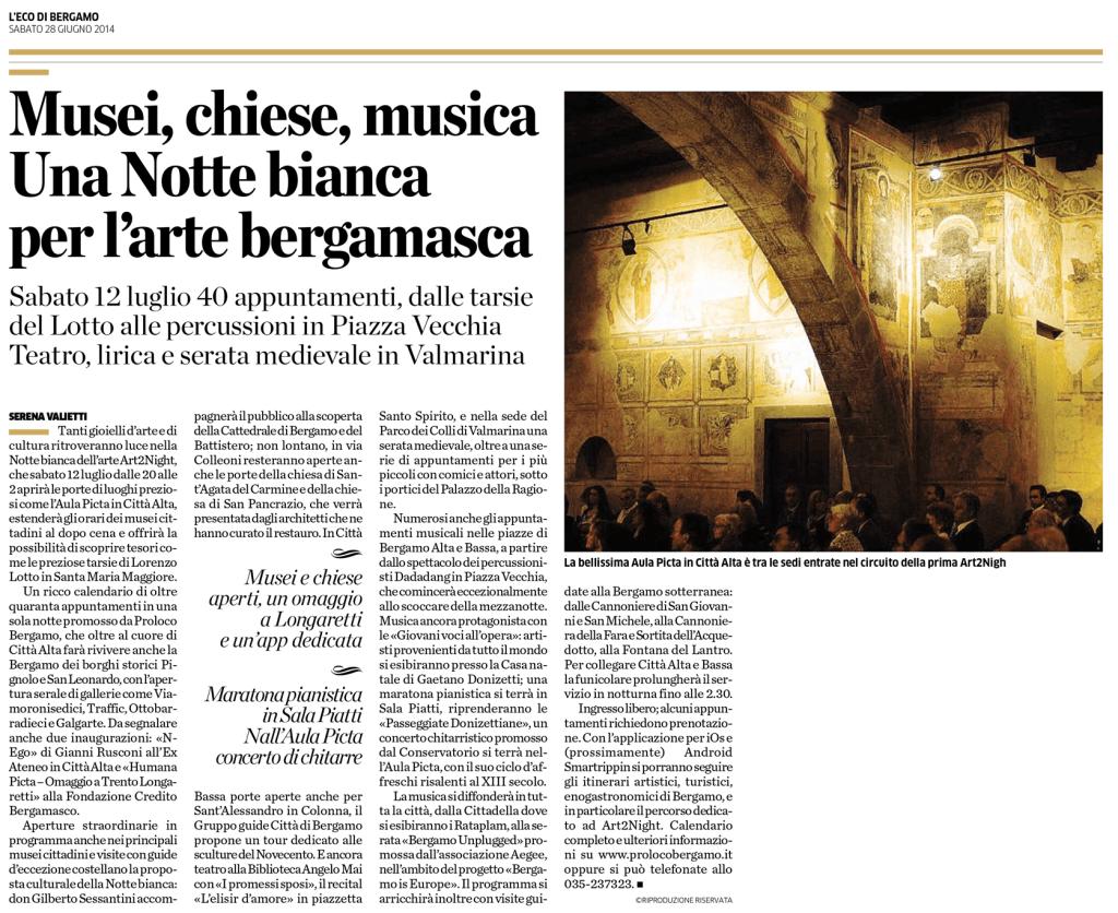 2014-06-28 - L'Eco di Bergamo - La notte bianca dell'arte - Bergamo is Europe