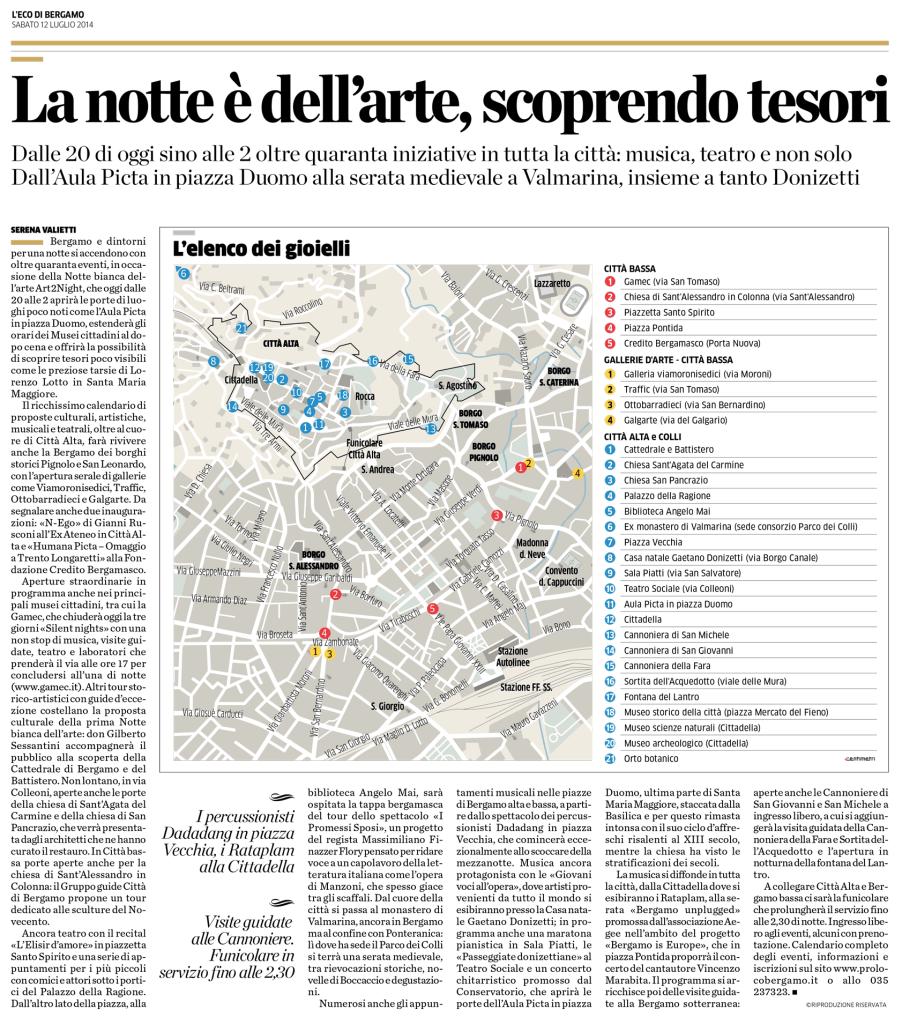 2014-07-12 - L'Eco di Bergamo - La notte è dell'arte - Bergamo is Europe