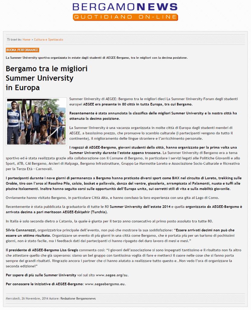 2014-11-26 - Bergamonews - AEGEE-Bergamo Sport SU tra le migliori Summer University