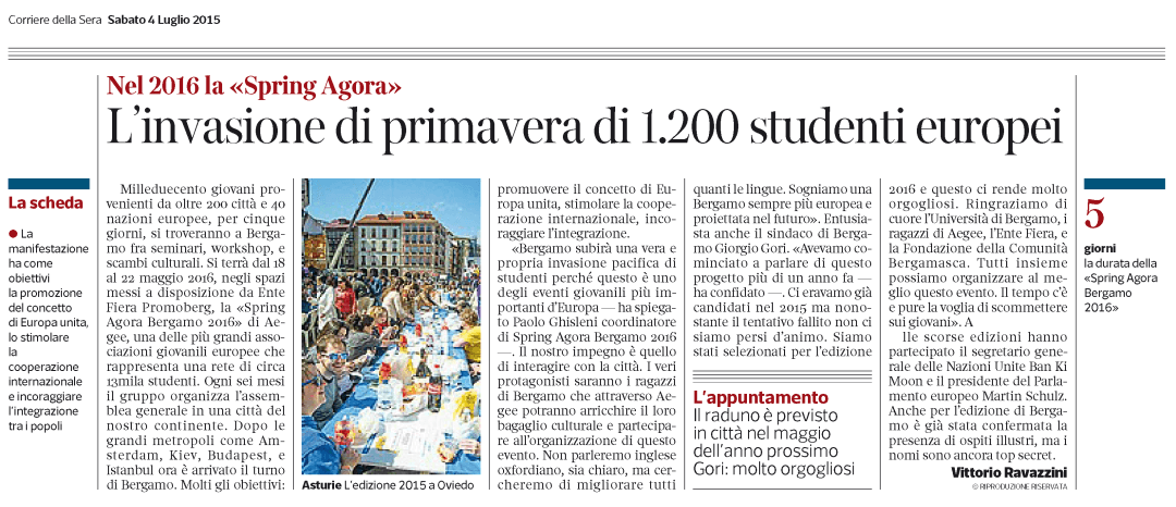 2015-07-04 - Il Corriere della Sera - The spring invasion of 1200 european students