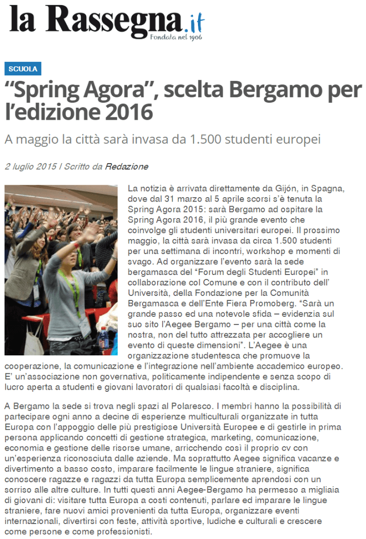 2015-07-02 - Larassegna.it - Spring Agora, scelta Bergamo per l'edizione 2016